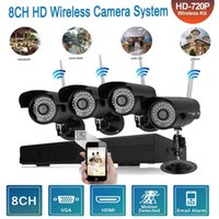 Wholesale surveillance camera system wireless waterproof for sale - Group buy NVR Kits ch outdoor security camera wireless IP netwok Surveillance video recorder IR night version feet waterproof action system P