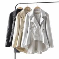 vestes pu europe achat en gros de-2019 Veste en cuir à la mode pour femmes manteau en PU irrégulier Europe femme veste en cuir souple à glissière Vêtements de dessus p1379
