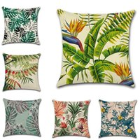ingrosso lascia le piante-Green Plant Leaves Throw Cushion Covers with Zippers Square 18