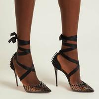 ingrosso copricapo di nozze-Alla moda scarpe rosse col tacco alto femminile testa a punta rivetto meccanico caviglia avvolgimento nastro pompa chiodo copertura tallone scarpe da sposa partito