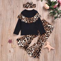 ropa de estampado de leopardo para niños al por mayor-Diseño de los bebés Trajes leopardo volante de manga larga Top + Piel de leopardo Pantalones acampanados con banda de sujeción + 3pcs / set Sistemas Moda Ropa Niños