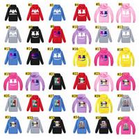 musica camiseta dj al por mayor-Diseñador niños muchachos de la ropa Tops Marshmello manga larga con capucha camiseta de música de DJ camisetas de los niños del verano remata tes MMA1546-1