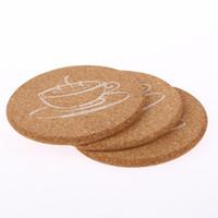 runde hölzerne bierdeckel großhandel-Holzachterbahn Kaffeepad Scheibe Schalen-Matte natürliche runde Platzdeckchen Hitzbeständige Tee-Becher Getränk für Küchendeko