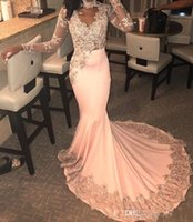 Wholesale peach mermaid dress ruffles for sale - Group buy New African Peach Mermaid Prom Dresses Sexy Sheer Lace Appliques Evening Gowns Sweep Train Cheap Formal Party Dress Vestidos BC1524
