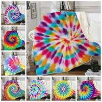 Throw Blankets Tie Dye Sherpa Blanket Kids Girl Boy Quilt Soft Plush Couch Bedspreads Bedding Supplies 10 Designs Optional DW4345