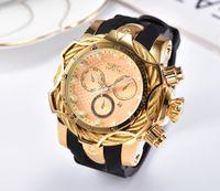 relojes de auto para hombres al por mayor-19 Reloj de oro de lujo INVICTA Todos los diales secundarios funcionan Hombres Relojes de cuarzo deportivos Cronógrafo Fecha automática Banda de goma Reloj de pulsera para regalo masculino 3C