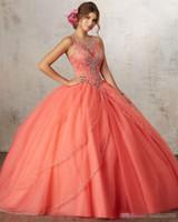 azul royal quinceanera vestir strass venda por atacado-2019 luxo coral quinceanera vestidos de baile frisado strass doce 16 ano princesa vestidos para 15 anos vestidos de baile vestidos de noite