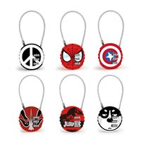Wholesale suitcase online - The avengers locks Code Number cartoon Padlock round mini metal For Luggage Zipper Bag Backpack Handbag Suitcase Drawer protector FFA1757