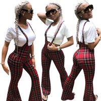 imágenes de pantalón al por mayor-Moda a cuadros rojos impresos mujeres de pierna ancha pantalones largos en general 2019 más nuevo sexy correas sin mangas ocasional Club mono trajes trajes Real Imag