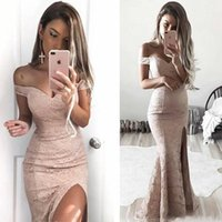 Wholesale dusty pink long mermaid bridesmaid dresses resale online - Dusty Pink Off the Shoulder Mermaid Bridesmaid Dresses Full Lace Thigh High Split Evening Gowns Sexy Long Formal Party Wear Prom Dress