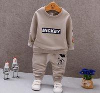 ingrosso boys mickey sets-Neonati che coprono gli insiemi nuovi 2018 autunno primavera bambini ragazze ragazzi del fumetto Mickey sport suit bambini felpa + pantaloni tuta set