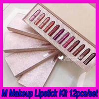 Wholesale lip stick mini resale online - New mankeup set M Lipstick set Collection Snow Ball Lipstick Kit matten lip stick Christmas limited Mini lipstick vault gift box set