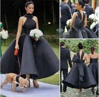 özel yapılmış çay elbisesi siyah toptan satış-Yeni Kısa Siyah Kokteyl Elbiseleri Yüksek Yaka Big Bow Balo Çay Boyu Modest Pembe Prom Parti Abiye Giyim Ucuz Custom Made