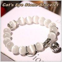 ingrosso cristallo di perline di gatto-Braccialetto di perline di cristallo naturale di cristallo cat-eye con singolo trasferimento palla retro ornamenti gioielli delle donne per la ragazza regalo delle donne