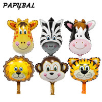 mono clásico al por mayor-50pcs Safari Animal Globos Decoración de la fiesta de cumpleaños Lion Monkey Zebra Cow Head Safari Zoo Foil Globos Juguetes clásicos