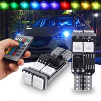ingrosso automotive led lights-Lampadina decorativa dell'automobile di RGB T10 LED Colorful 6SMD 5050 W5W l'atmosfera automobilistica ha condotto la lampada flash stroboscopio della lampadina