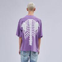 eski tişört hip hop toptan satış-Vintage Mor T-shirt Erkekler Hip Hop Rahat Fit Kısa Kollu Tee
