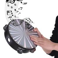 tambores de percusión al por mayor-Tambor de mano Pandereta Radiante de madera con Jingles de Doble Fila Cabeza de Tambor Reflectante Instrumento de Percusión de Juguete Musical