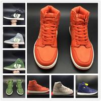 sapatas superiores de couro preto tênis venda por atacado-Mais novo sapato de basquete 1 s seda orange rosa cinza preto verde azul superior de couro das mulheres dos homens de moda 2019 sapatilha esporte