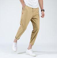 iş kalemleri toptan satış-Yeni Moda Pantolonlar Erkekler Koşucular Düğme Slim Fit Streetwear Erkekler İş Pantolon Katı Casual Kalem Pantolon M-3XL