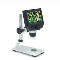 свет эндоскопа оптовых-4,3-дюймовый 600X USB электронный микроскоп 3,6-мегапиксельная OLED LCD цифровая видеокамера микроскопа Эндоскопическая увеличительная камера + светодиодные фонари