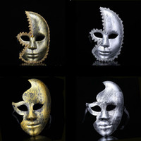 Wholesale hot masquerade masks resale online - new hot sale Lovely Men Burnished Antique Silver Gold Venetian Mardi Gras Masquerade Party Ball Mask