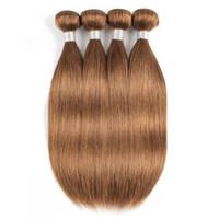 açık kahverengi bakire saç toptan satış-# 30 Işık Altın Kahverengi Düz İnsan Saç Paketler Brezilyalı Virgin Saç 3/4 Paketler 16-24 Inç Remy İnsan Saç Uzantıları