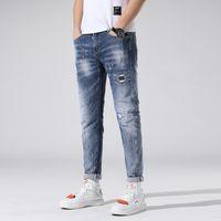 malen dots jeans großhandel-Stretch-Jeans Slim Fit Herren Washed Painted Dot Zipper Hip Hop Hole eng anliegende Denim-Hosen Gerade Zerstörte Hose 1teilig AAA1963