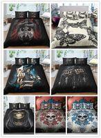 doppelte bettbezugsets großhandel-3D Halloween Schädeldruck Bettwäsche-Sets Schwarz-Weiß Bettbezug-Sets Einzel Doppelköniggrößen