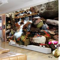 chinesische kulissen großhandel-Fototapete Chinese Style Fließendes Wasser Stein Karpfen 3D Stereo Tapete Wohnzimmer TV Kulisse Wand-Fresko Papel De Parede