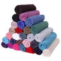 bufanda de las mujeres musulmanas de moda al por mayor-Las mujeres musulmanes de la bufanda de moda a largo Colores sólidos turbante al aire libre suave pista señora Wraps Mantón 35 Colores TTA1572-15