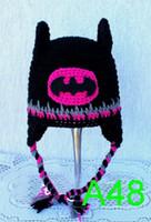 ingrosso cappelli invernali di batman-Supereroe Movie Batman Spiderman Winter Beanie Crochet Baby Boy Girl Batman Maschera Cappello Casco Earflaps Infant Toddler Kids Caps Regalo di Natale