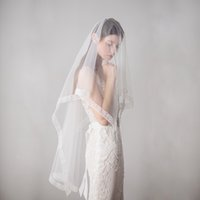 Wholesale wedding veil fingertip tier for sale - Group buy 2019 Wedding Veils With Comb Wedding Hair Pieces Two Tiers Tulle Fingertip Length Bridal Headpieces Bridal Veil Lace Edges DB V608