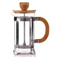 teekanne edelstahlfilter großhandel-Edelstahl Bambusdeckel Kaffeekanne hausgebrauch Tragbare Teefilter Glas Kaffee maschine werkzeuge drücken Kolben QQA213