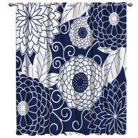 marine vorhänge großhandel-Japan Floral Navy Gardinenstange Bad Vorhänge Schlafzimmer Floral Vorhänge Stoff Vorhang Panels Mit Ösen Party Dekoration