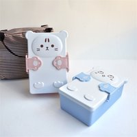 Wholesale plastic divided for sale - Group buy Kitten To Embrace Dinner Pail Plastic Dividing Grid Bento Box Pink Lunch Case Cartoon Non Slip Microwave Oven Lovely fsb1