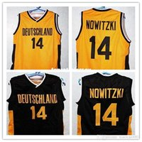 maillots noirs allemagne achat en gros de-Pas cher # 14 Dirk Nowitzki TEAM DEUTSCHLAND GERMANY Maillot de basket noir or Retrov gilet T-shirt Hommes XXS-6XL maillots de broderie