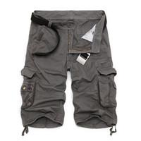 markalı kargo pantolonları toptan satış-Erkek Kargo Şort 2019 Marka Yeni Ordu Kamuflaj Taktik Şort Erkekler Pamuk Gevşek Çalışma Rahat Kısa Pantolon Artı Boyutu