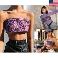 womans camis achat en gros de-NOUS Femmes Sexy Violet Leopard Gilet Top Débardeur Crop Tops Sans Manches Sangle Camis Clubwear Outwear Femmes Sexy Tops Court