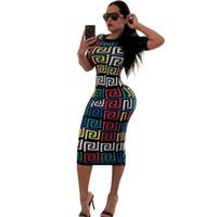 sexy sommer kurze kleider großhandel-Sommer Frauen Vintage Kleider Nachtclub CasualClothing Mode Kurzarm Sexy Slim Apparel Bleistift Kleider Knielang