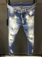 ingrosso piccoli jeans piedi-2019 New Jeans Uomo Jeans Patch Slim Paint Little Feet Locomotiva Uomo Jeans Può essere raccomandato taglia