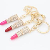suministros para lápiz labial al por mayor-Moda Rhinestone Crystal Lipstick Keyring Charm Bag Purse Car Colgante Llavero Suministros para el hogar 4 Color WX-K03