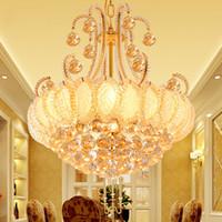 araña luminaria al por mayor-2019 Lámparas de Cristal Redondas de Oro Para la Sala de estar Dormitorio Cocina Lámpara de interior luminaria decoración del hogar Envío Gratis