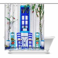 lindas cortinas de baño al por mayor-Serie tradicional de Grecia Pequeña y linda calle Tabernas Isla de Kos Decoración para baño Cortina de ducha