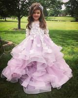 crianças vestido de nascimento venda por atacado-Lindas Meninas Pageant Vestidos de Jóias Mangas Compridas Com Flor 3D Rendas Applique Contas Em Camadas Princesa Organza Ruffles Crianças Flor Meninas Nascimento