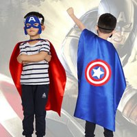 Wholesale girls super hero costume for sale - Group buy 2019 New Superhero Cape With Mask Christmas New Year Party Cosplay Clothes For Girl Boy Kids