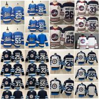 мотоциклетные хоккейные трикотажные изделия winnipeg оптовых-25 Paul Stastny Winnipeg Jets Хоккейные майки 55 Марк Шайфеле 29 Патрик Лэйн 26 Блейк Уилер 33 Дастин Бьюфьюлиен Главная Темно-синий сшитый