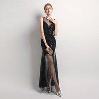 новый сексуальный пол оптовых-Robe De Soiree YIDINGZS Black Gold Sequins Beading Long Evening Dresses Sexy Prom Party Dress 2019 New Arrive