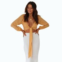 Wholesale womans 4 for sale - Group buy 2019 Woman Blouses Designer Womans Blouses Sexy Sleeve Female Chiffon Blouse Woman V Neck Top