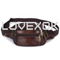 paquetes de cintura grande al por mayor-Paquetes de cintura de cuero genuino / Bolso de cintura Bolso de cuero de grano superior / Paquete de fanny / Organizador con cinturón ajustable, Gran capacidad 7 Bolsillos